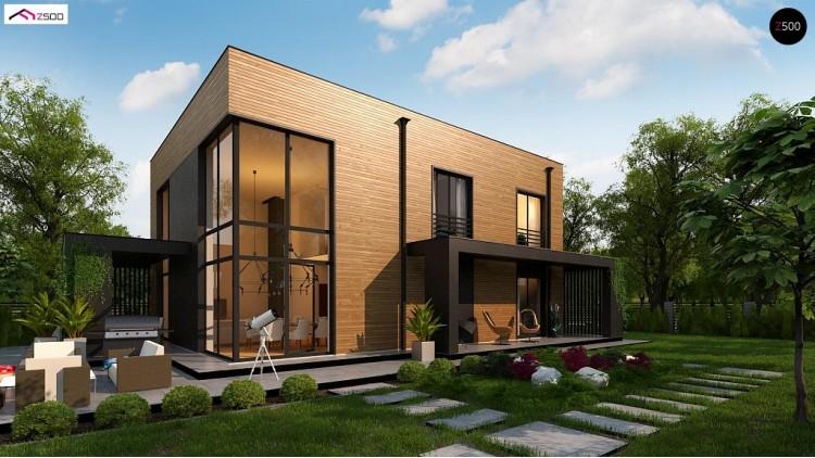 Проект Zx93 Проект современного двухэтажного дома с вторым светом и большой площадью остекления.  Проекты домов и гаражей