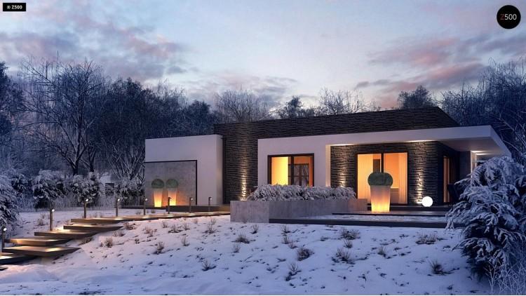 Проект Zx96 Проект современного одноэтажного дома с интересной планировкой и гаражом для одной машины.  Проекты домов и гаражей