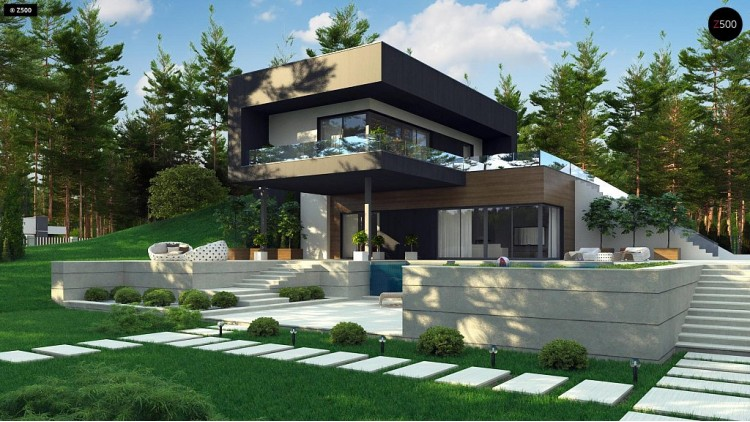 Проект Zx97 Проект современного двухэтажного дома. Проект подойдет для строительства на участке со склоном.  Проекты домов и гаражей