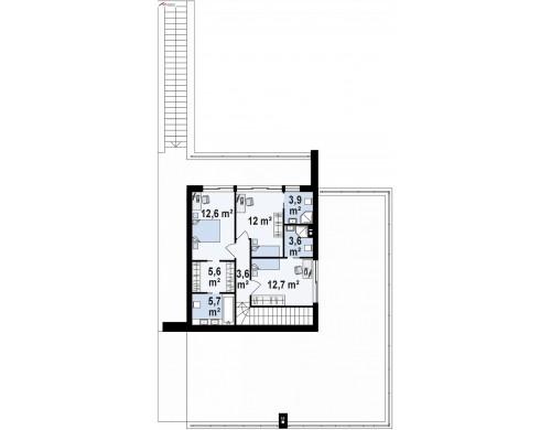 Проект Zx98 Стильный современный проект двухэтажного дома, подходит для строительства на участке со склоном.  Проекты домов и гаражей