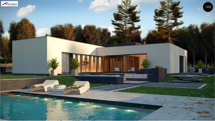 Проект Zx99 Одноэтажный дом в современном стиле с гаражом на 3 машины, с плоской кровлей  Проекты домов и гаражей