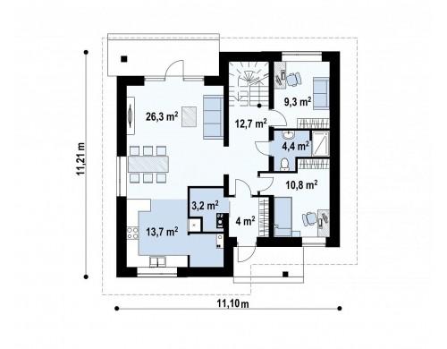 Проект Zz1 Проект современного двухэтажного дома с двумя комнатами на первом этаже.  Проекты домов и гаражей