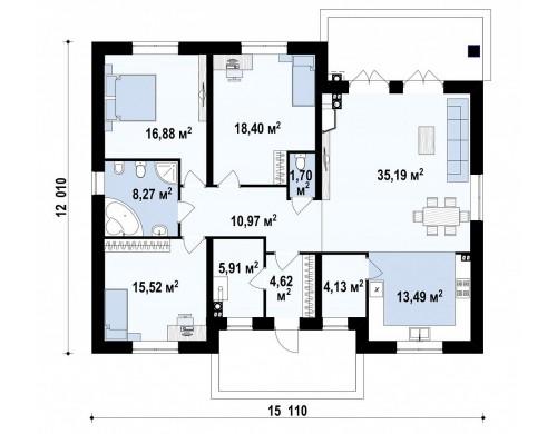 Проект Zz10 Одноэтажный дом с 4-х скатной кровлей и уютной террасой.  Проекты домов и гаражей