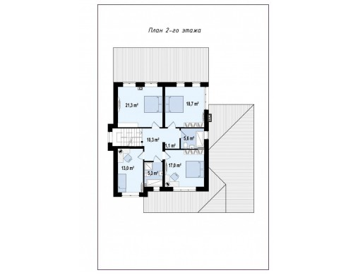 Проект Zz2 L Элегантный двухэтажный дом с гаражом, с 5 спальнями  Проекты домов и гаражей