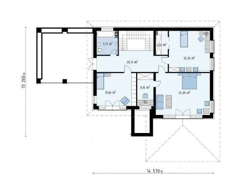 Проект Zz201 Проект стильного и просторного дома с элементами классической архитектуры.  Проекты домов и гаражей