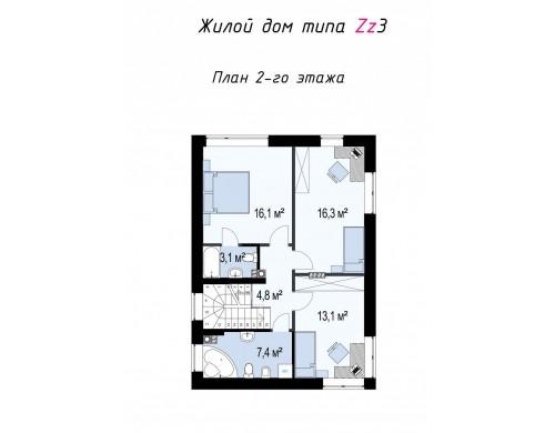 Проект Zz3 Компактный проект двухэтажного дома  Проекты домов и гаражей