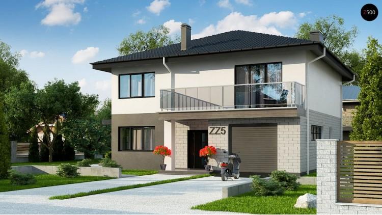 Проект Zz5 Современный двухэтажный дом с гаражом.  Проекты домов и гаражей
