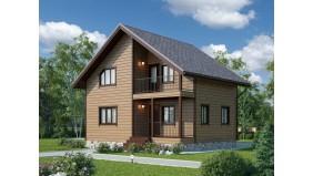 KD-001 - проект двухэтажного каркасного дома с балконом