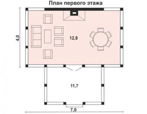 Проект каркасного дома KD-004 18,7кв.м, 6,9× 4,2 м, 1 этаж