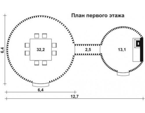 Проект каркасного дома KD-005 16.1 м² , 6.4 × 6.4 1 этаж