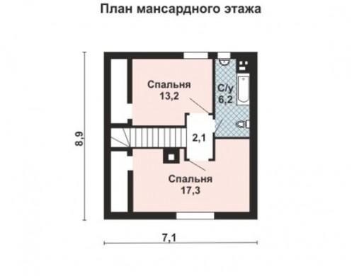 Проект каркасного дома KD-006 83 м² , 8.8 × 7, 2 этажа
