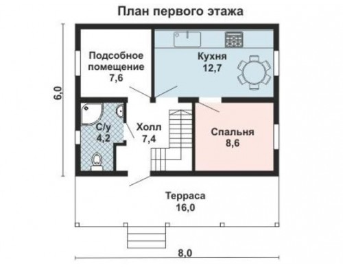 Проект каркасного дома KD-007 84.5 м², 8 × 6  2 этажа