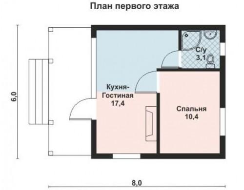 Проект каркасного дома KD-008 34.5 м², 6 м × 6 м  1 этаж