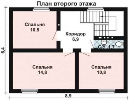 Проект каркасного дома KD-009 96.7 м², 9 м × 6.4 м, 2 этажа