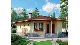 KD-010 - проект одноэтажный каркасный дом с одной большой гостиной-столовой и тремя спальнями