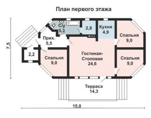 Проект каркасного дома KD-010 86.7 м², 14.6 м ×  7.2 м, 1 этаж