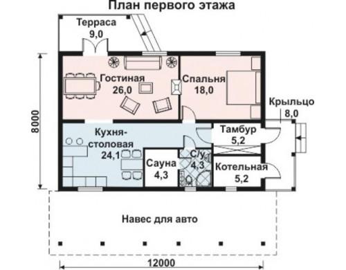 Проект каркасного дома KD-011 93 м², 12 м × 8 м, 1 этаж