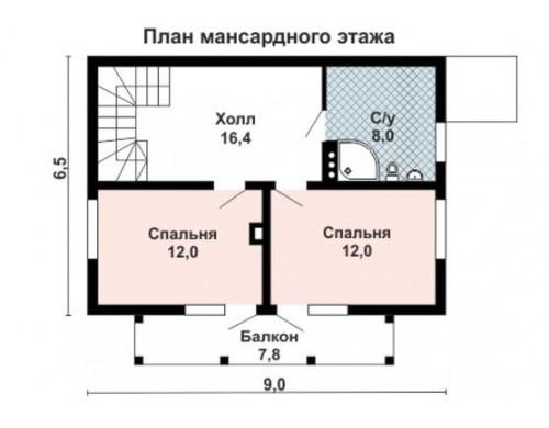 Проект каркасного дома KD-012 110 м², 9 м ×  6.5 м , 2 этажа
