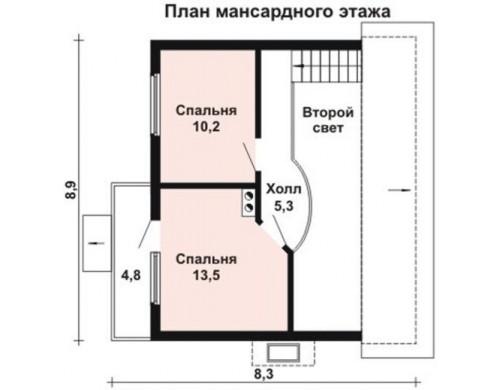 Проект каркасного дома KD-013 111.2 м², 8.9 м × 8.3 м, 2 этажа