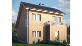 KD-013 - проект аккуратный дом с мансардой и большой террасой