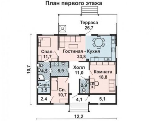 Проект каркасного дома KD-014 120 кв.м - 12.2 м × 10.7 м, 1 этаж