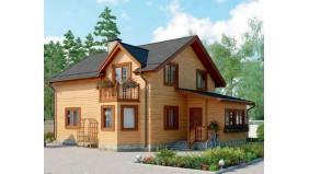 KD-016 - проект двухэтажный дом с классической планировкой и некоторыми архитектурными элементами, такими как эркер, балкончик и закрытая веранда