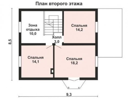 Проект каркасного дома KD-016 131.1 м²,  11.8 м × 8.5 м, 2 этажа