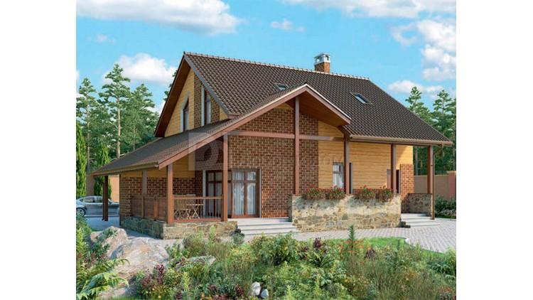 Проект каркасного дома KD-017 166.8 м², 13.5 м × 11.8 м, 2 этажа