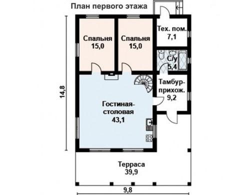 Проект каркасного дома KD-019 180 м², 14.8 м × 9.8 м, 2 этажа