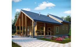 KD-019 - проект дачный дом с мансардой и большой террасой для летнего отдыха