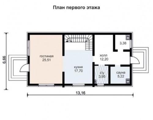 Проект каркасного дома KD-021 146.2 м², 13.2 м × 6.7 м, 2 этажа