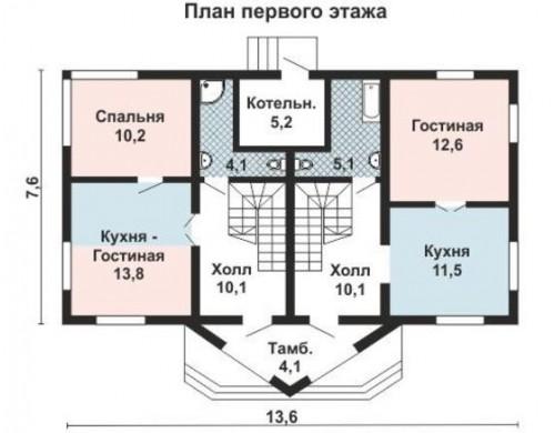 Проект каркасного дома KD-022 159 м², 14 м × 8 м, 2 этажа