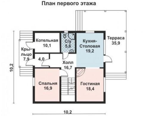 Проект каркасного дома KD-023 188.1 м², 10.2 м × 10.2 м, 2 этажа