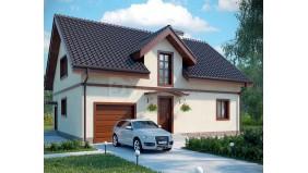 KD-025 - проект дом с мансардным этажом и панорамными окнами на нем