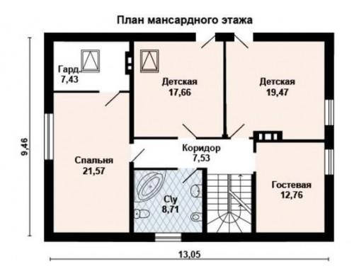 Проект каркасного дома KD-025 211.8 м², 13.1 м × 9.5 м, 2 этажа