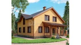 KD-027 - проект проект уютного дома с мансардой и верандой на входе