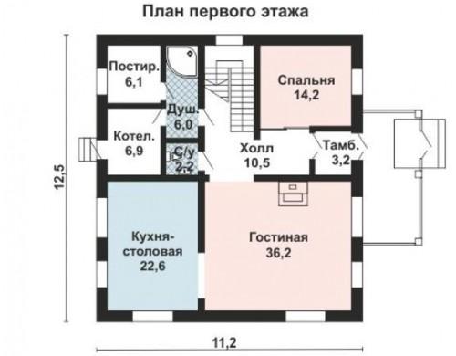Проект каркасного дома KD-027 221.6 м², 12.5 м × 11.2 м, 2 этажа