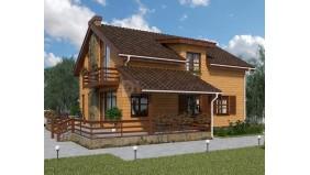 KD-029 - проект двухэтажный каркасный дом с большой террасой и патио