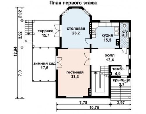Проект каркасного дома KD-032 339.1 м², 12.9 м × 10.8 м, 3 этажа