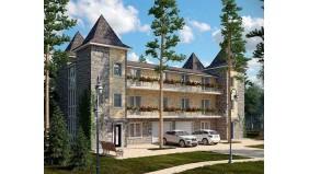 KD-033 - проект это проект трехэтажного дома с мансардой, предназначенный для проживания двух семей