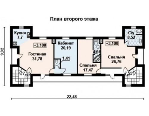 Проект каркасного дома KD-033 360.48 м², 22.5 м × 9.9 м, 3 этажа