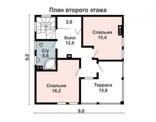 Проект каркасного дома KD-034 116.9 м², 9 м × 9 м, 2 этажа