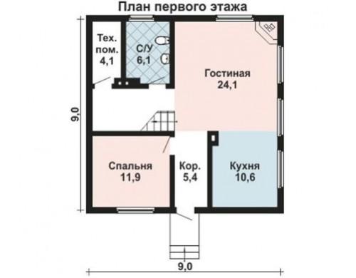 Проект каркасного дома KD-035 126 м², 9 м × 9 м, 2 этажа