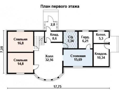 Проект каркасного дома KD-036 190.8 м², 17.9 м × 7.5 м, 2 этажа