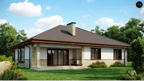 PB-001 - проект одноэтажный дом с многоскатной кровлей, эркером и камином на террасе.