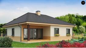 PB-002 - проект Практичный одноэтажный дом с многоскатной кровлей и угловым окном в кухне.