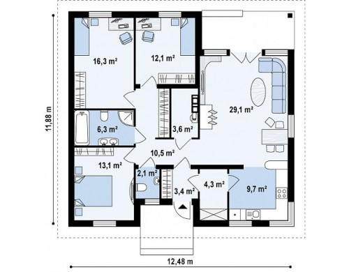 Проект дома PB-002 12.48x11.88m 110,6 м² , 1 этаж