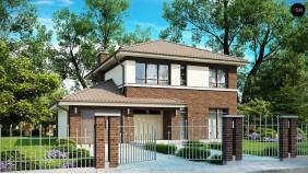 PB-004 - проект Элегантный двухэтажный дом с боковым гаражом и кабинетом на первом этаже.