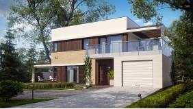 PB-005 - проект Современный элегантный дом с гостиной с фронтальной стороны.