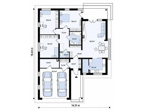 Проект дома PB-006 14.31x18.44m 132,8 / 166,1 м² , 1 этаж